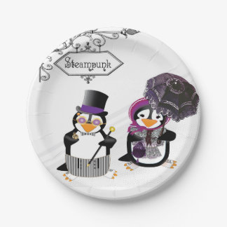 Steampunk Penguins Paper Plate