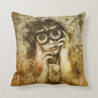 Steampunk Pillow Girl and Glasses Grunge Victorian