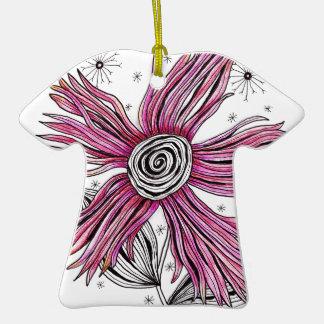 Steampunk Pink Zentangle Flower Ornaments