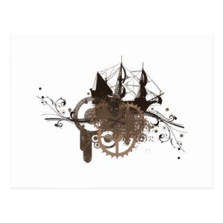 Steampunk pirate ship postcard