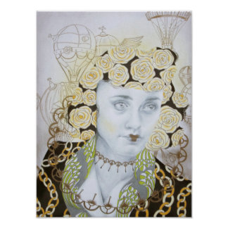 Steampunk Portrait Victorian Fashion Art Poster