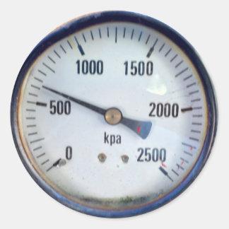 Steampunk Pressure Gauge Round Sticker