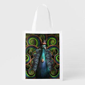 Steampunk - Pretty as a peacock Reusable Grocery Bag