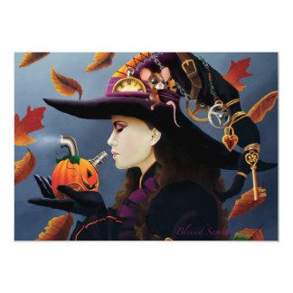 Steampunk Pumpkin Witch Card