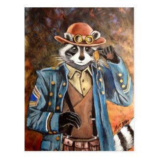 Steampunk Raccoon Postcard