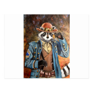 Steampunk Raccoon Postcard