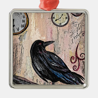 Steampunk Raven with clocks Christmas Ornament