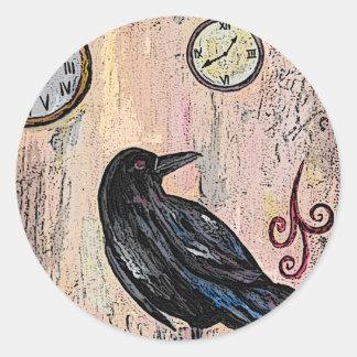Steampunk Raven with Clocks Classic Round Sticker