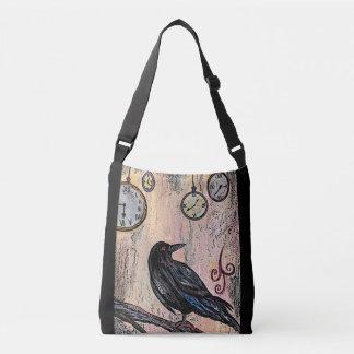 """Steampunk Raven with Clocks"" Crossbody Bag"