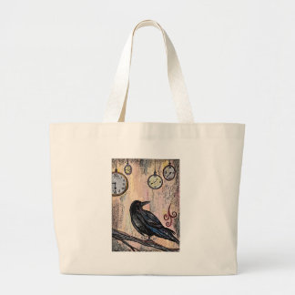 Steampunk Raven with Clocks Large Tote Bag