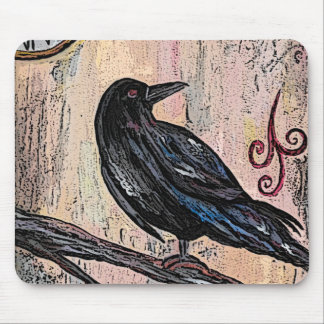 """""""Steampunk Raven with Clocks"""" Mouse Mat"""