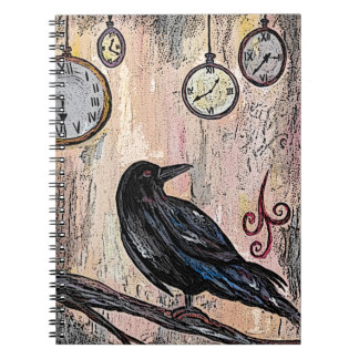 Steampunk Raven with Clocks Notebook