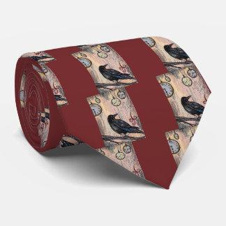 Steampunk Raven with Clocks Tie