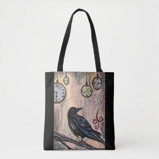 """""""Steampunk Raven with Clocks"""" Tote Bag"""