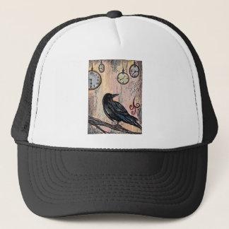 """""""Steampunk Raven with Clocks"""" Trucker Hat"""