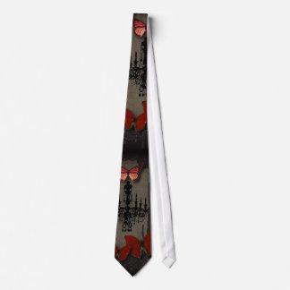 Steampunk red butterfly black chandelier tie
