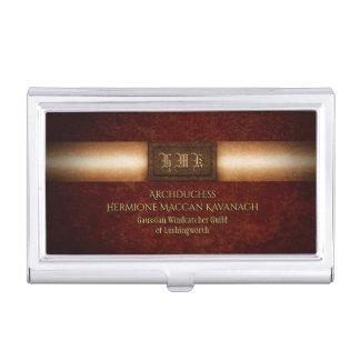 Steampunk rivetted grunge brass monogram plate business card holder