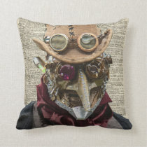 Steampunk Robot Collage Over Old Dicionary Page Cushion