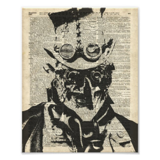 Steampunk Robot Stencil Over Old Dictionary Page Photo Print