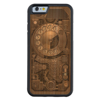 Steampunk Rotary Metal Dial Phone. Carved Cherry iPhone 6 Bumper Case
