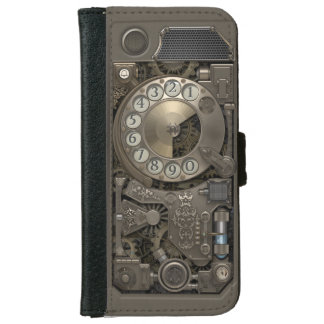 Steampunk Rotary Metal Dial Phone. iPhone 6 Wallet Case