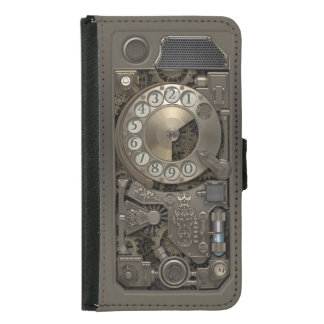 Steampunk Rotary Metal Dial Phone. Samsung Galaxy S5 Wallet Case
