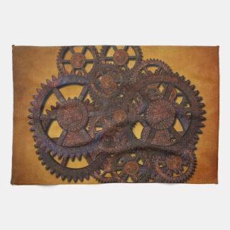Steampunk Rusty Gears Tea Towel