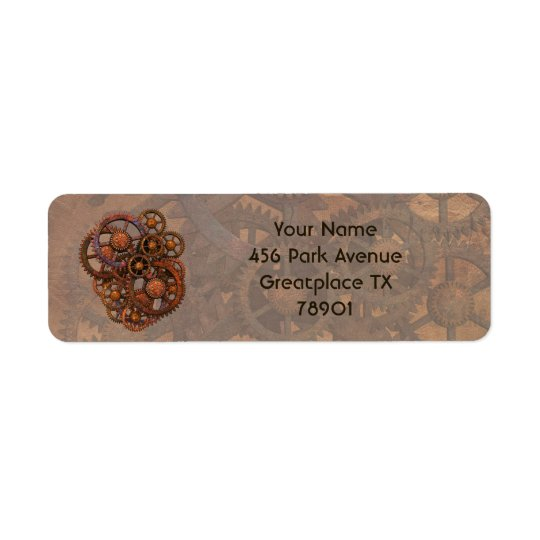 Steampunk Rusty Metal Gears With Shadows Return Address Label