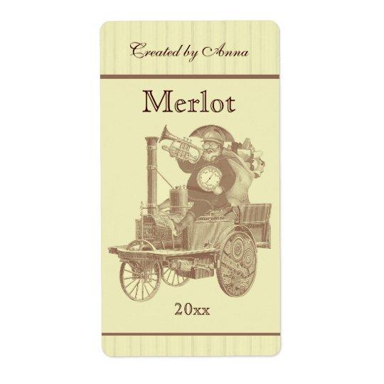 Steampunk Santa on steam engine Shipping Label