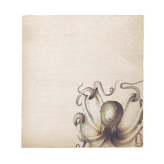 Steampunk Sea Octopus Muted Tan Travelogue Theme Notepad
