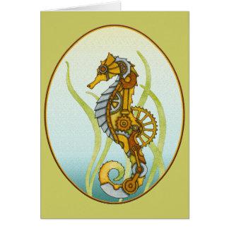 Steampunk Seahorse Card