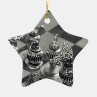 Steampunk Silver Chess Figure Pieces Ceramic Star Decoration