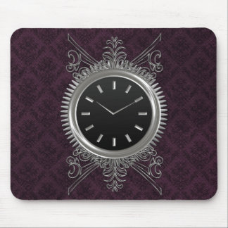 Steampunk Silver Metal Clock Mouse Pad