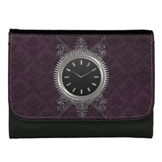 Steampunk Silver Metal Clock Wallets For Women