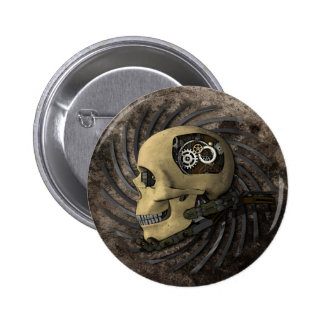 Steampunk Skull 6 Cm Round Badge