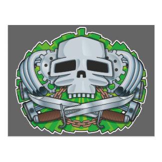 Steampunk Skull Crest Postcard