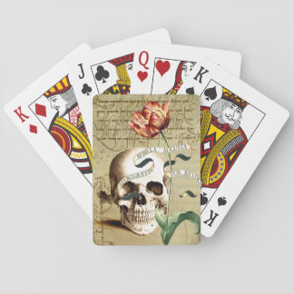 Steampunk Skull Floral Halloween Playing Cards