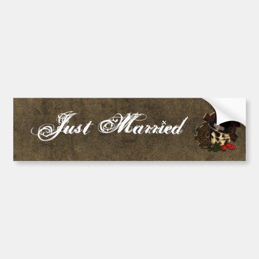 Steampunk Skull Roses Gothic Wedding Bumper Sticker