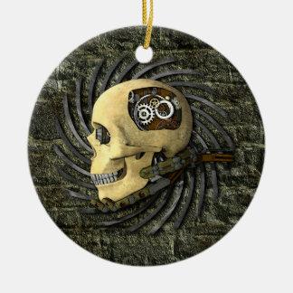 Steampunk Skull Round Ceramic Decoration