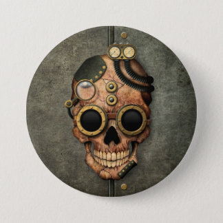 Steampunk Skull with Goggles - Steel Effect 7.5 Cm Round Badge