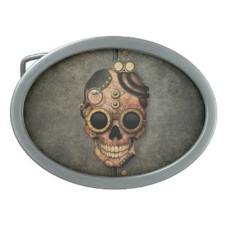 Steampunk Skull with Goggles - Steel Effect Belt Buckle