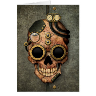 Steampunk Skull with Goggles - Steel Effect Card