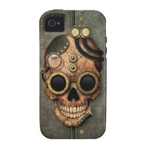 Steampunk Skull with Goggles - Steel Effect iPhone 4/4S Cover