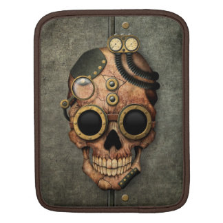 Steampunk Skull with Goggles - Steel Effect iPad Sleeve