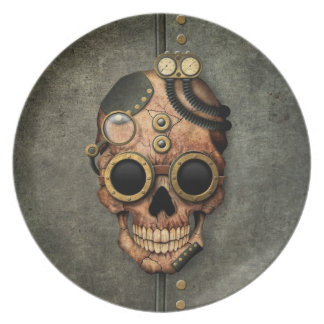 Steampunk Skull with Goggles - Steel Effect Dinner Plates