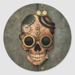 Steampunk Skull with Goggles - Steel Effect Round Stickers