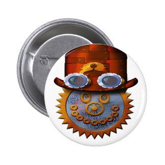 steampunk smiley 6 cm round badge