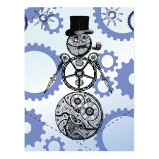 Steampunk Snowman Gear Holiday Design Postcard