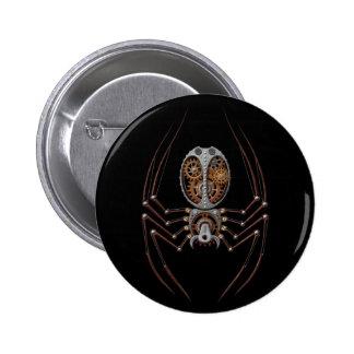 Steampunk Spider, black background 6 Cm Round Badge