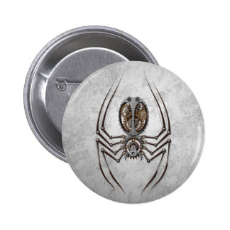 Steampunk Spider on Rough Steel 6 Cm Round Badge